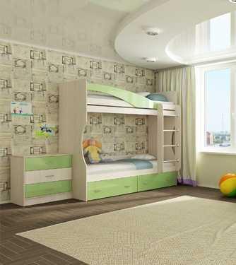 """1 129 - Двухъярусная детская кровать """"Буратино"""""""