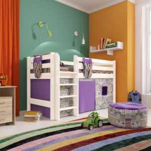 """Кровать """"Соня"""" низкая вариант 11 с прямой лестницей"""