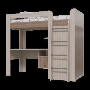 """Кровать-чердак """"Степ"""" 80х200 см с рабочей зоной и шкафом"""