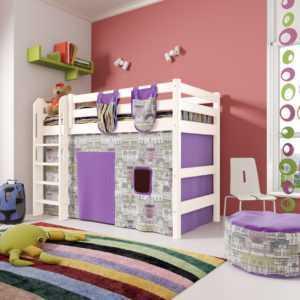 """Кровать """"Соня"""" полувысокая вариант 5 с прямой лестницей"""