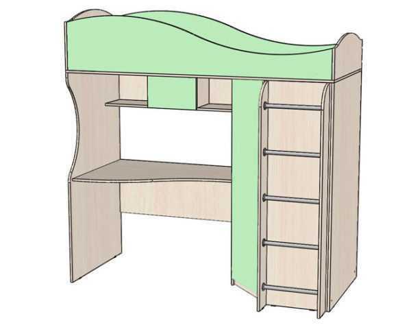 """62 2 600x474 - Кровать """"Буратино"""" с рабочей зоной и шкафом"""