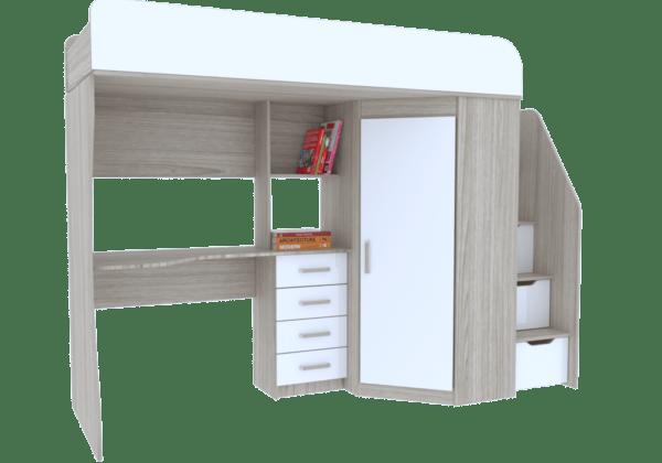 7 8 600x420 - Антилия Кровать-чердак с рабочей зоной и шкафом