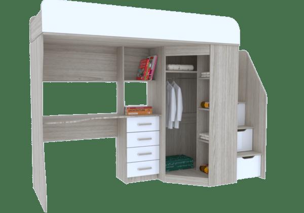 7 9 600x420 - Антилия Кровать-чердак с рабочей зоной и шкафом