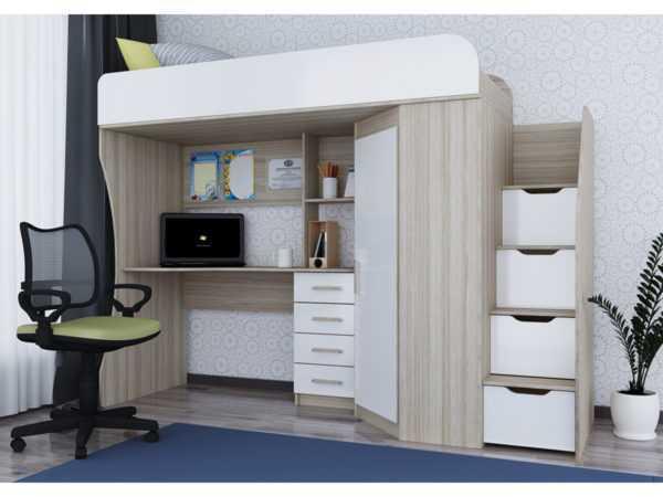 Антилия Кровать-чердак с рабочей зоной и шкафом