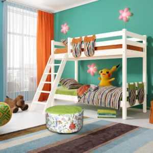 """Кровать """"Соня"""" двухъярусная вариант 10 с наклонной лестницей"""
