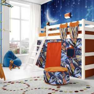 """Кровать """"Соня"""" полувысокая вариант 6 с наклонной лестницей"""