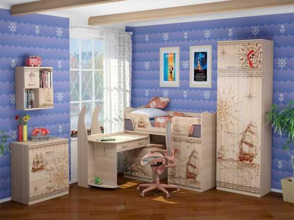 detskaj mebel v piratskom stile 14 600x450 - Квест 20 шкаф для одежды 2-х дверный с ящиками