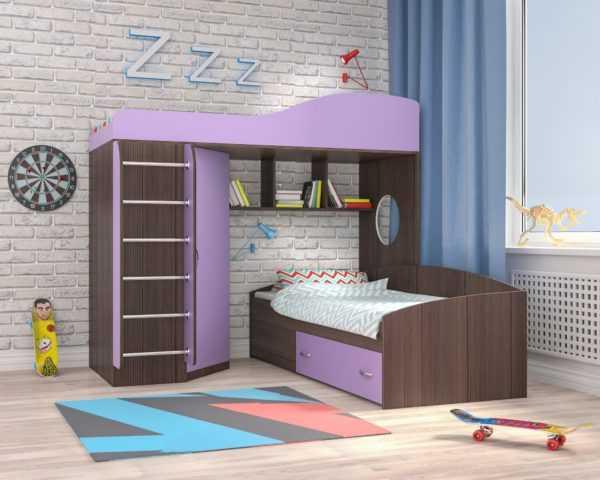 """Кровать-чердак """"Кадет-2"""" для двоих детей (мет. лестница)"""