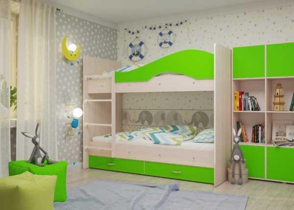"""maya lajm 2 scaled 600x428 - Двухъярусная детская кровать """"Майя"""" со шкафом"""