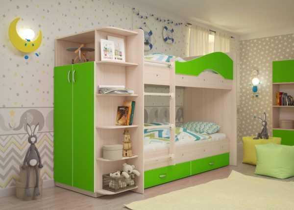 """maya lajm 3 scaled 600x428 - Двухъярусная детская кровать """"Майя"""" со шкафом"""