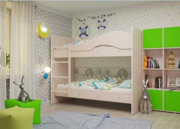 """maya mlechka 1 600x430 - Двухъярусная детская кровать """"Майя"""" со шкафом"""