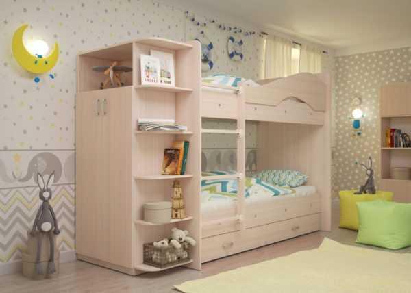 "maya mlechka 4 scaled 600x428 - Двухъярусная детская кровать ""Майя"" со шкафом"