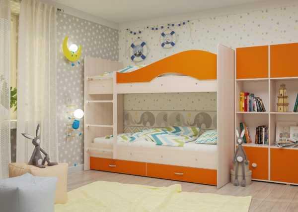 """maya oranzh 1 scaled 600x428 - Двухъярусная детская кровать """"Майя"""" со шкафом"""