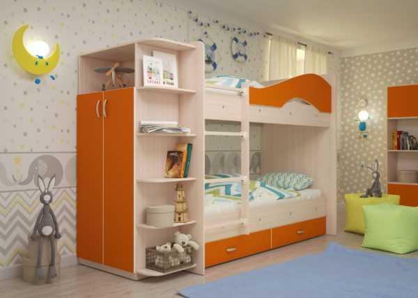 """maya oranzh 2 scaled 600x428 - Двухъярусная детская кровать """"Майя"""" со шкафом"""