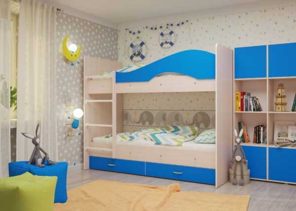 "maya sinij 1 scaled 600x428 - Двухъярусная детская кровать ""Майя"" со шкафом"