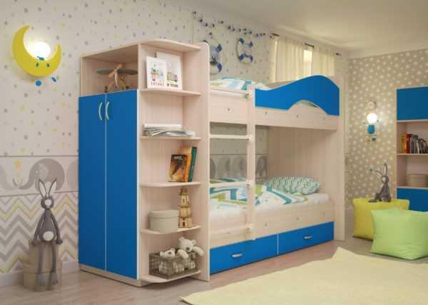 "maya sinij 3 scaled 600x428 - Двухъярусная детская кровать ""Майя"" со шкафом"