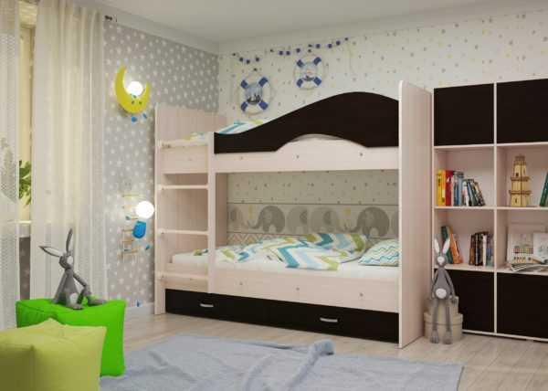 """maya venge 1 scaled 600x428 - Двухъярусная детская кровать """"Майя"""" со шкафом"""