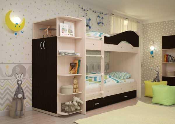 """maya venge 2 scaled 600x428 - Двухъярусная детская кровать """"Майя"""" со шкафом"""