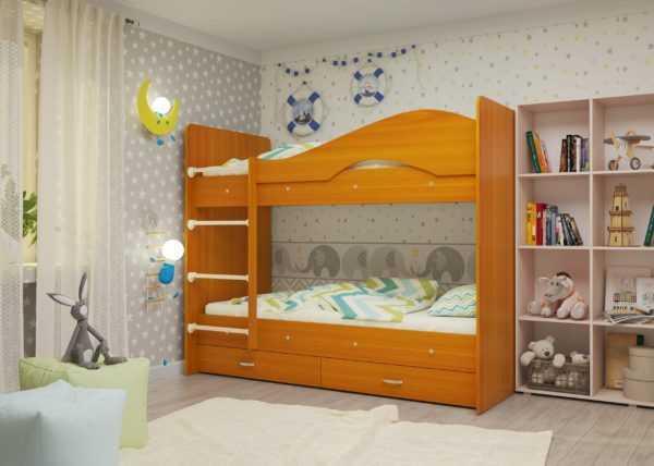 """maya vishnya 1 scaled 600x428 - Двухъярусная детская кровать """"Майя"""" со шкафом"""