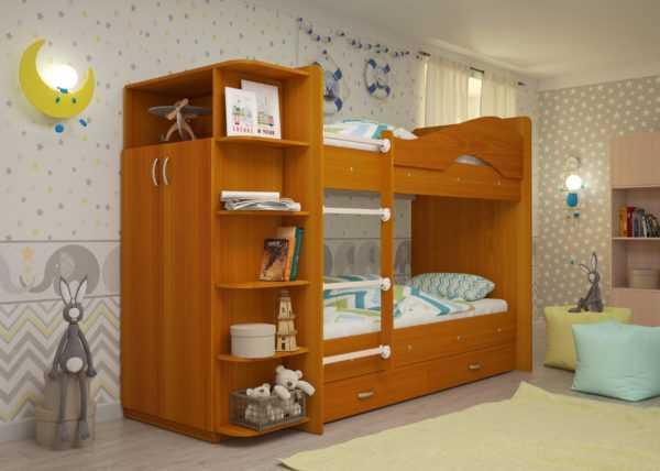 """maya vishnya 2 scaled 600x428 - Двухъярусная детская кровать """"Майя"""" со шкафом"""