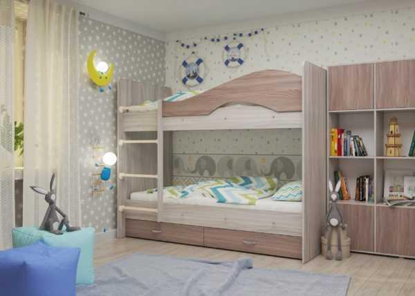 """maya yasen shimo 1 scaled 600x428 - Двухъярусная детская кровать """"Майя"""" со шкафом"""