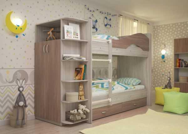 """maya yasen shimo 2 scaled 600x428 - Двухъярусная детская кровать """"Майя"""" со шкафом"""