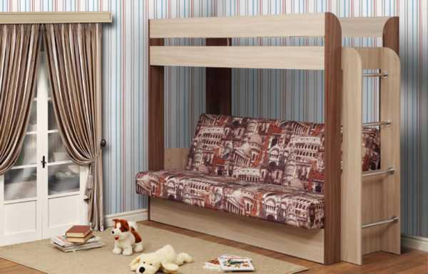 """nemo b matr arkh 600x385 - Кровать-чердак с диваном """"Немо"""""""