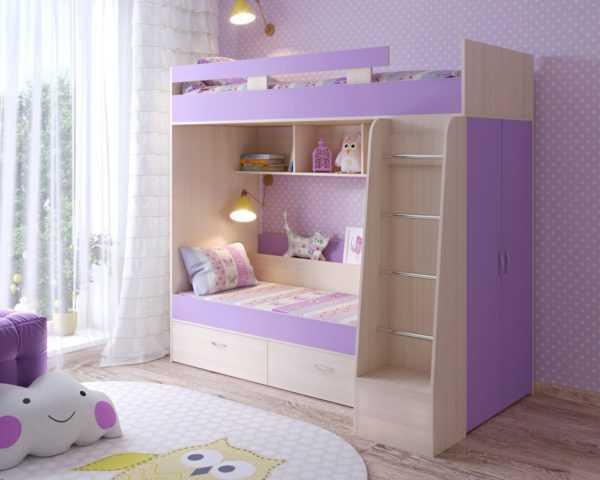 """u oak iris1  600x480 - Двухъярусная детская кровать """"Юниор-6"""" со шкафом"""
