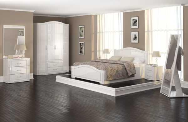 """vik 600x389 - Спальня """"Виктория"""" (Белый глянец)"""