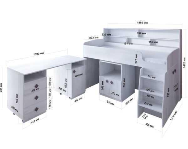 """white wood table razmery   scaled 600x476 - Кровать-чердак """"Малыш-5"""" с выдвижной рабочей зоной"""