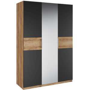 Рамона Шкаф 3-х дверный с зеркалом (дуб кельтский/черный)
