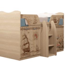Квест 09 кровать-чердак с выдвижным столом для мальчика