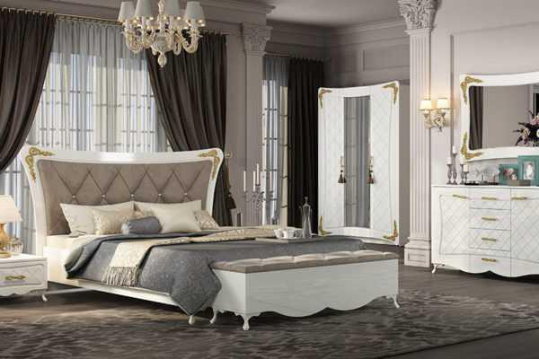 interer bel zoloto 600x400 - Аделина Кровать 160х200 см (белый глянец/золото)