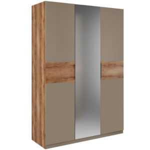 Рамона Шкаф 3-х дверный с зеркалом (дуб кельтский/капучино)
