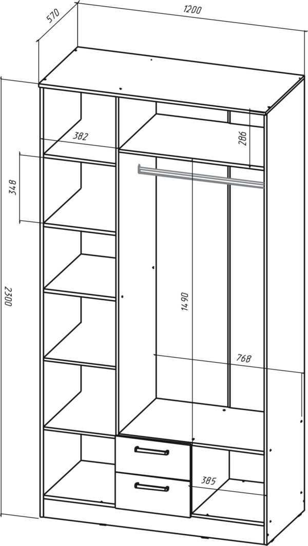 shkaf 3 600x1064 - Коста-Рика Шкаф 3-х дверный
