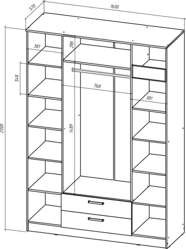 shkaf 4 600x802 - Коста-Рика Шкаф  4-х дверный