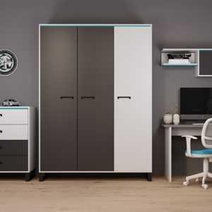 Carbon white Ш3 шкаф трехстворчатый