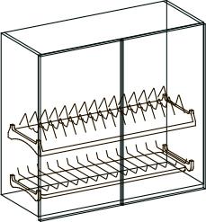 12 - Эко Лайн 2.12 шкаф навесной двухдверный с сушкой 800