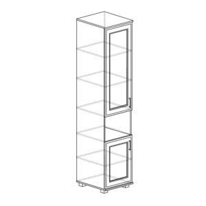 БЕЛЛА 242 Шкаф-пенал со стеклом (белый/ясень белый)