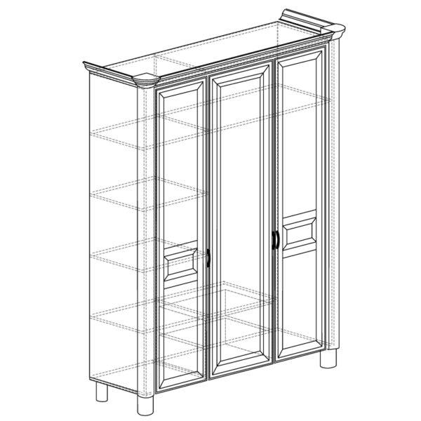 570 600x600 - ЭЛЛИ 570 Шкаф 3-х дверный (кремовый белый)
