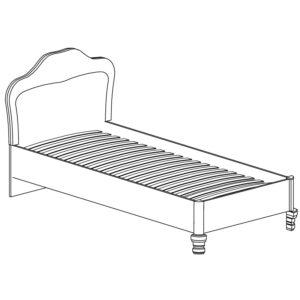 ЭЛЛИ 581 Кровать одинарная 90*200 (кремовый белый)
