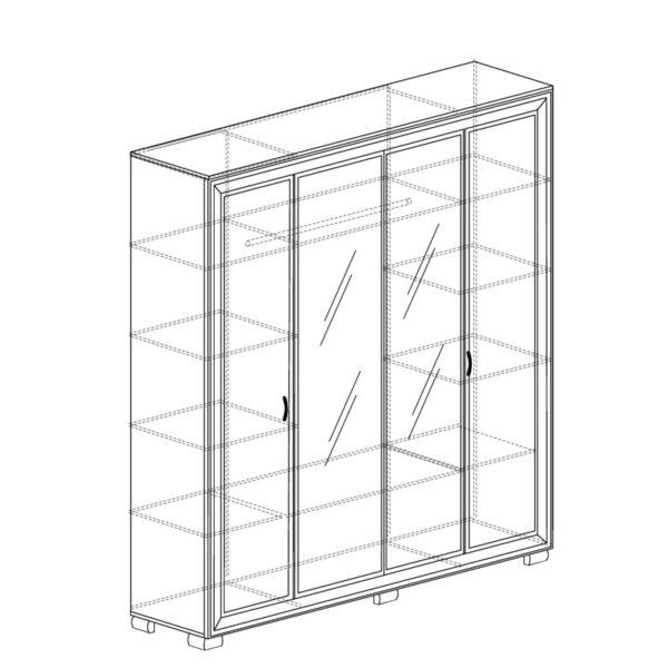 afiny shkaf 367 600x600 - АФИНЫ 367 Шкаф  4-х дверный (кремовый белый)