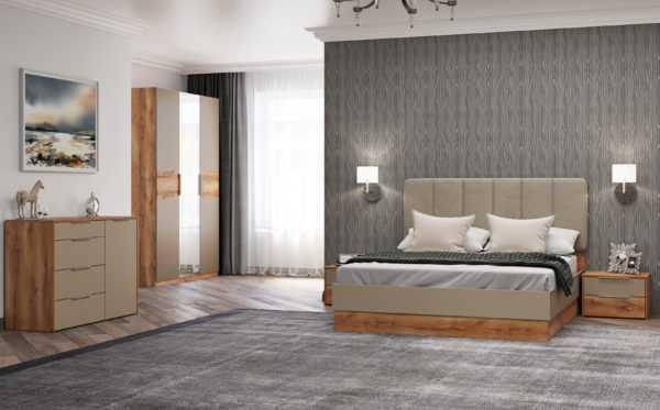 Рамона Кровать 160*200 см с п/мех (дуб кельтский/капучино)