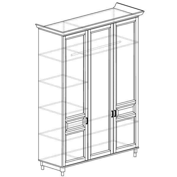 404 600x600 - ПРОВАНС 404 Шкаф 3-х дверный (Сосна белая)