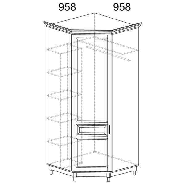 418 600x600 - ПРОВАНС 418 Шкаф угловой (Сосна белая)