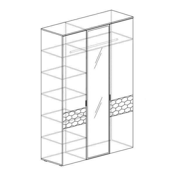 71 shema 600x600 - ДЕЛИ 71 Шкаф 3-дверный (дуб эндгрейн/антрацит)