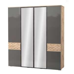 ДЕЛИ 79 Шкаф 4-х дверный (дуб эндгрейн/антрацит)