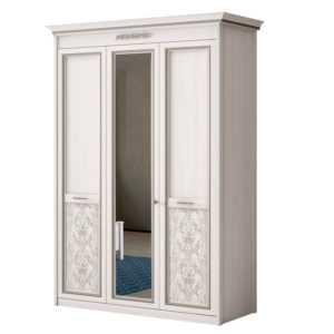 АДЕЛЬ 453 Шкаф 3-дверный со стеклом (ясень белый)