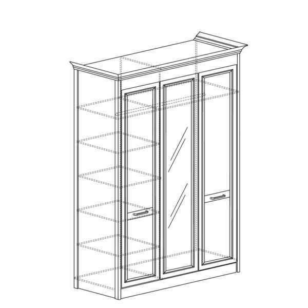 shkaf 453 600x600 - АДЕЛЬ 453 Шкаф 3-дверный со стеклом (ясень белый)