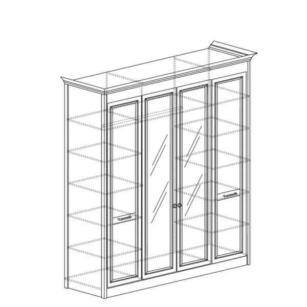shkaf 457 600x600 - АДЕЛЬ 457 Шкаф  4-х дверный со стеклом (ясень белый)